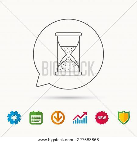 Hourglass Icon. Sand Time Sign. Half An Hour Symbol. Calendar, Graph Chart And Cogwheel Signs. Downl
