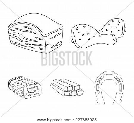 Chicken Drumstick, Podcherevina, Crab Sticks, Meatloaf. Meat Set Collection Icons In Outline Style V