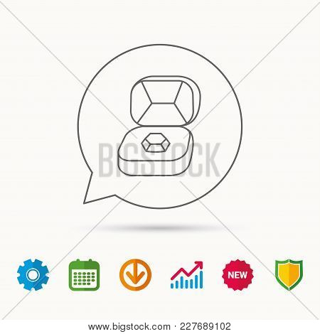 Brilliant Jewellery Icon. Engagement Sign. Calendar, Graph Chart And Cogwheel Signs. Download And Sh