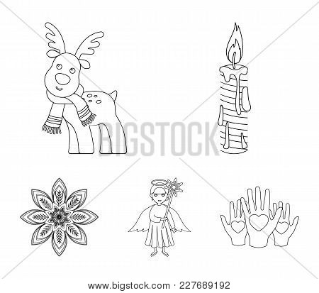 Christmas Candle, Deer, Angel And Snowflake Outline Icons In Set Collection For Design. Christmas Ve