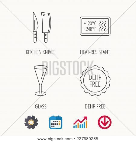 Kitchen Knives, Glass And Heat-resistant Icons. Dehp Free Linear Sign. Calendar, Graph Chart And Cog