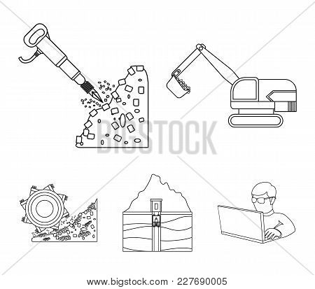 Excavator, Tunnel, Elevator, Coal Harvester And Other Equipment.mine Set Collection Icons In Outline