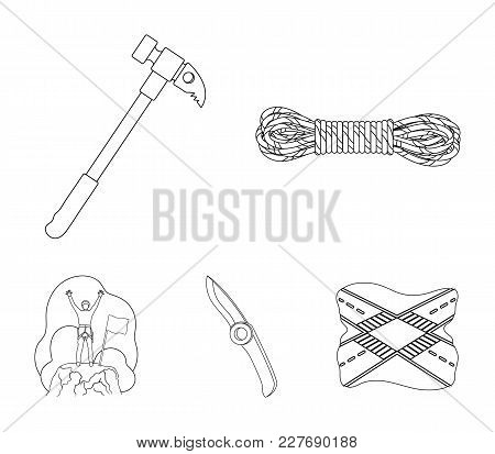 Climber On Conquered Top, Coil Of Rope, Knife, Hammer.mountaineering Set Collection Icons In Outline