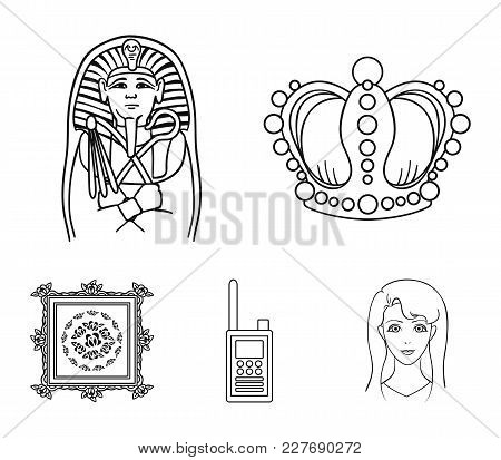 Crown, Sarcophagus Of The Pharaoh, Walkie-talkie, Picture In The Frame.museum Set Collection Icons I