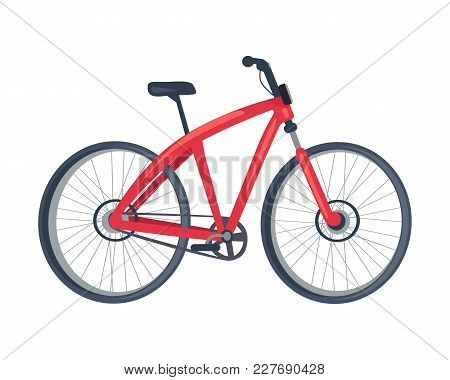 Bike Of Red Color, Poster With Vehicle With Two Wheels, Saddle And Crossbar, Transportation And Mean