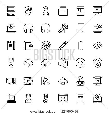 Online Education Icon Set. Collection Of High Quality Black Outline Logo For Web Site Design And Mob