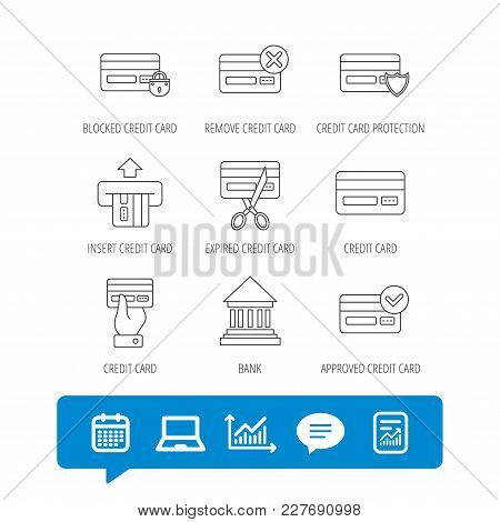 Bank Credit Card Icons. Banking, Blocked And Expired Debit Card Linear Signs. Money Transactions And