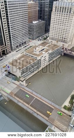 Aerial Elevated View Looking Down At The Chicago River And The Randolph Street Bridge