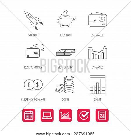 Piggy Bank, Cash Money And Startup Rocket Icons. Wallet, Currency Exchange And Dollar Usd Linear Sig