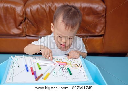 Cute Little Asian 18 Months / 1 Year Old Toddler Boy Child Drawing, Scribbling With Colorful Maker,