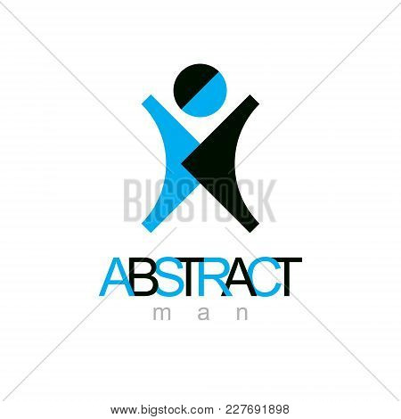 Vector Illustration Of Happy Abstract  Man With Raised Reaching Up. Successful Business Career Emble