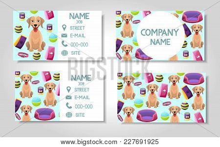Vector Modern Colorful Business Card Template Set Dog And Pet Store Items. Front Page And Back Page