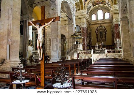 Cagliari, Italy - November 9, 2013: Detail Of The Interior Of The Cathedral Of Santa Maria Assunta A