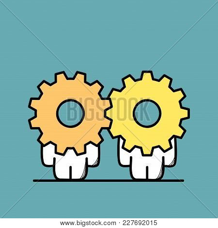 Funny Cute Men With Gear Wheels Or Pinions Instead Of The Heads. Business Partnership, Teamwork, Coo