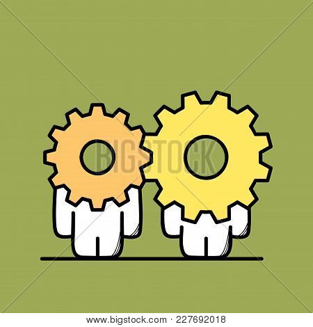 Funny Cute Men With Different Gear Wheels Or Pinions Instead Of The Heads. Cooperation And Collabora