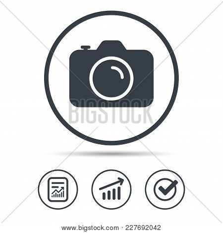 Camera Icon. Professional Photocamera Symbol. Report Document, Graph Chart And Check Signs. Circle W
