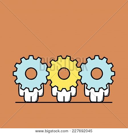 Funny Cute Men With Gear Wheels Or Pinions Instead Of The Heads. Teamwork And Joint Work, Cooperatio