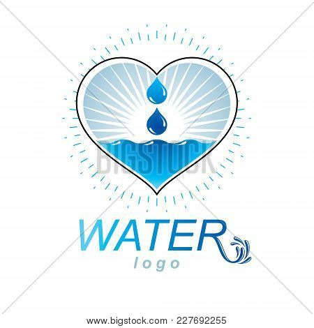 Ocean Freshness Theme Vector Logo. Water Cleansing Advertisement. Human And Nature Harmony Concept.