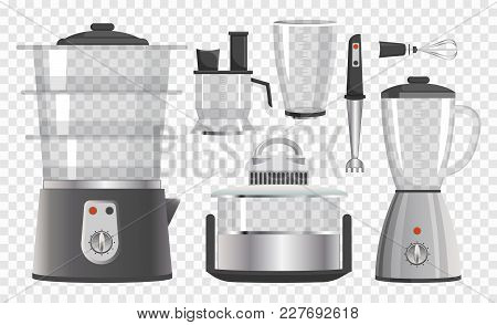 Various Kitchen Instruments Vector Illustration With Steamer, Mixers And Glass Utensil, Black Vids,
