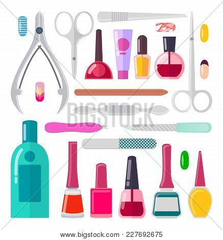 Nail Art, Poster With Collection Of Objects Used To Create New Styles, Nail Files And Scissors, Vect