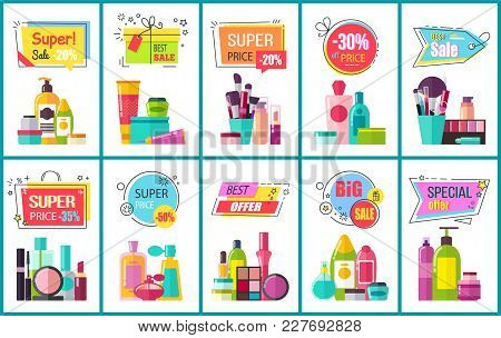 Best Sale For Decorative And Skincare Cosmetics Promotional Posters Set. Bottles And Containers With