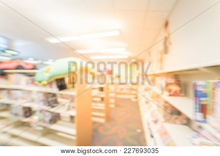 Blurred Kids Bookcases Cabinets Shelves At Library In Usa
