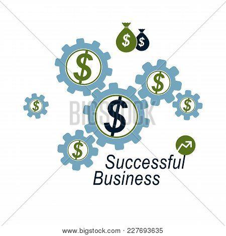The Global Financial System Conceptual Logo, Unique Vector Symbol. Dollar Signs, Circulation Of Mone