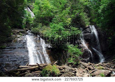 Anna Ruby Falls Landscape At Helen, Georgia Usa