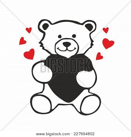Teddy Bear With Heart Vector Sketch Icon Isolated On Background
