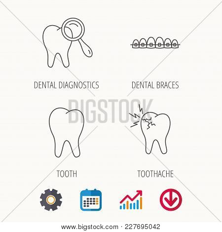 Tooth, Dental Braces And Toothache Icons. Dental Diagnostics Linear Sign. Calendar, Graph Chart And