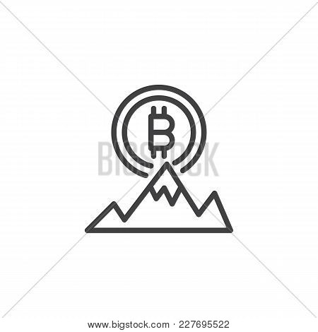Bitcoin And Mountain Peak Outline Icon. Linear Style Sign For Mobile Concept And Web Design. Bitcoin
