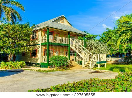 Grand Cayman, Cayman Islands, Dec 2016, Caribbean Two Story House Style