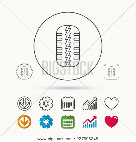 Tire Tread Icon. Car Wheel Sign. Calendar, Graph Chart And Cogwheel Signs. Download And Heart Love L