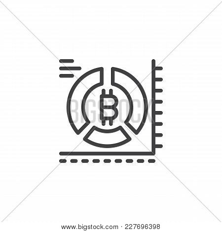 Bitcoin Pie Chart Outline Icon. Linear Style Sign For Mobile Concept And Web Design. Cryptocurrency