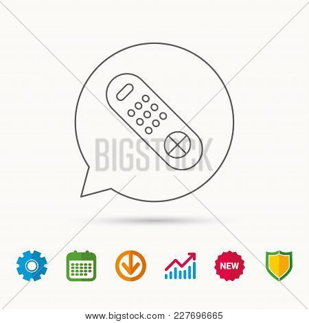 Remote Control Icon. Tv Switching Channels Sign. Calendar, Graph Chart And Cogwheel Signs. Download
