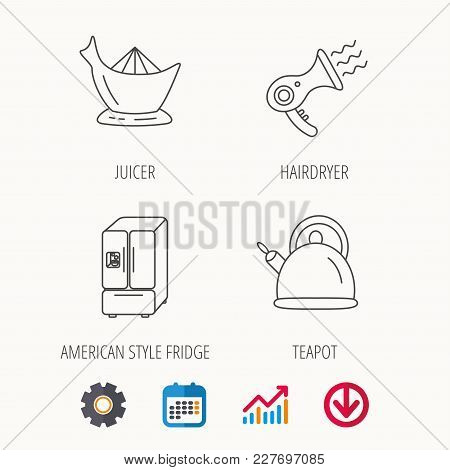 Hair-dryer, Teapot And Juicer Icons. Refrigerator Fridge Linear Sign. Calendar, Graph Chart And Cogw