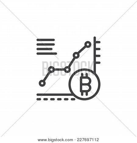Bitcoin Growth Chart Outline Icon. Linear Style Sign For Mobile Concept And Web Design. Cryptocurren
