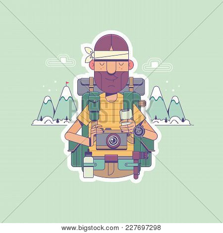 Travel, Hiking, Backpacking, Tourism And People Concept. Happy Hiker With Backpacks Looks To The Hor