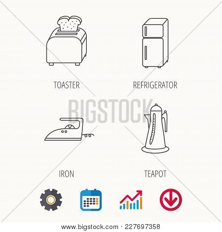 Toaster, Refrigerator And Iron Icons. Kettle Linear Sign. Calendar, Graph Chart And Cogwheel Signs.