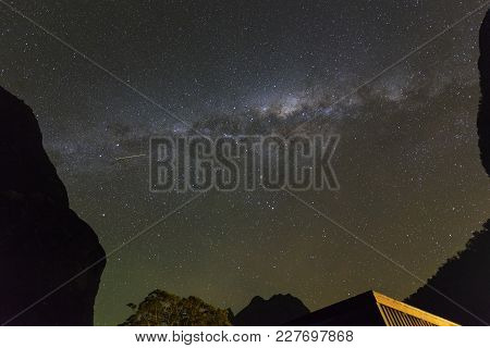 Milky Way At Milford Sound In South Island, New Zealand.long Exposure And High Iso Photograph.with V