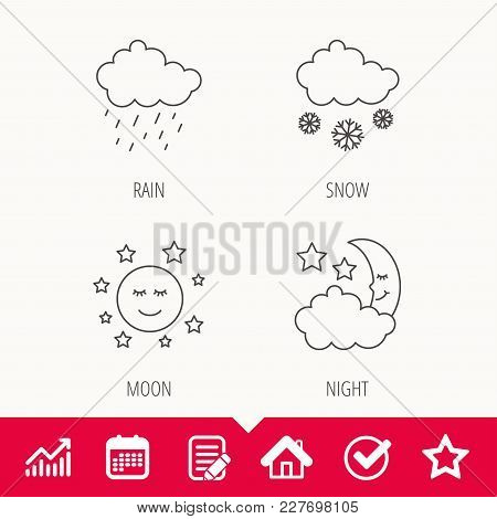 Weather, Night And Rain Icons. Moon Night And Snow Linear Signs. Edit Document, Calendar And Graph C