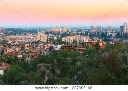 Plovdiv, Bulgaria City Aerial Skyline Panorama And Colorful Sky