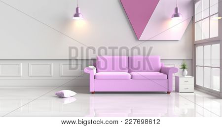 White-purple Room Decorated With Purple Sofa,tree In Glass Vase, Violet Pillows, Wood Bedside Table,