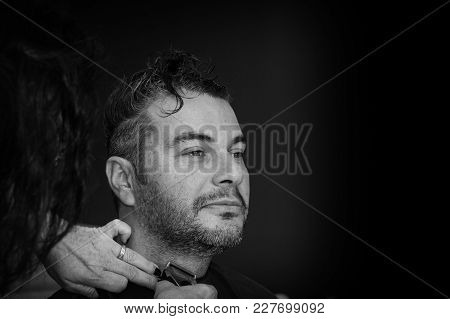Female Barber Working With Hair Clipper, Shaving Young Man's Neck