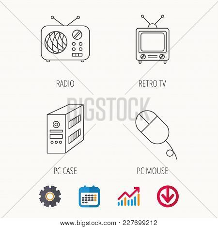 Radio, Retro Tv And Pc Mouse Icons. Pc Case Linear Sign. Calendar, Graph Chart And Cogwheel Signs. D