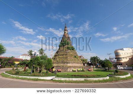 Pagoda In Traffic Circle At Vientiane, Laos