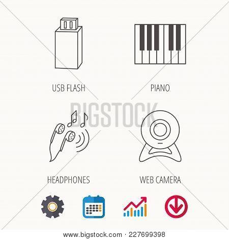 Headphones, Web Camera And Usb Flash Icons. Piano Linear Sign. Calendar, Graph Chart And Cogwheel Si
