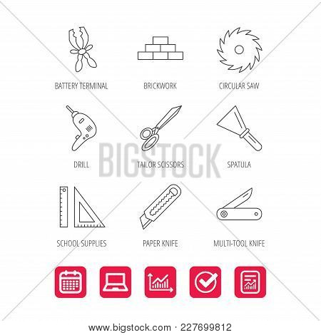 Paper Knife, Spatula And Scissors Icons. Circular Saw, Brickwork And Drill Tool Linear Signs. Multi-
