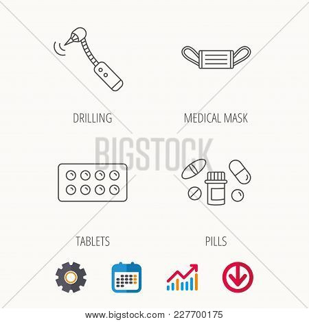Medical Mask, Pills And Drilling Tool Icons. Tablets Linear Sign. Calendar, Graph Chart And Cogwheel