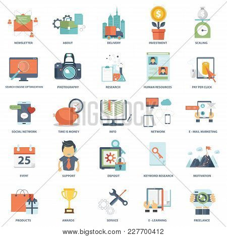 Set Of Modern Flat Design Business Vector Info Graphics Icons